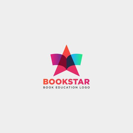 Star book education gradient négatif simple logo modèle icône illustration vectorielle élément isolé - fichier vectoriel