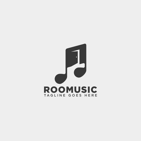 music door room office entertainment simple logo template vector illustration - vector file