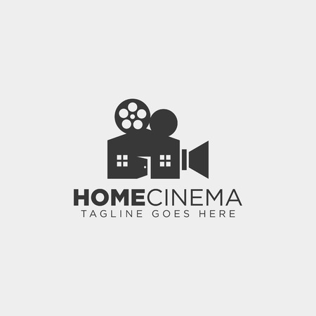 Home video cinema black color simple line logo template vector illustration icon element isolated - vector file