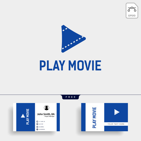 play button cinema movie simple logo template with black color vector illustration - vector file