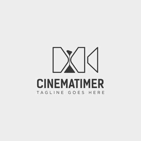 sand timer cinema entertainment simple logo template vector illustration icon element isolated - vector file
