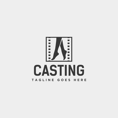 acting show or casting movie simple logo template vector illustration icon element - vector file