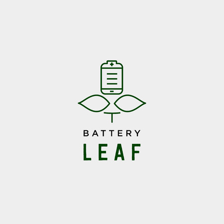 battery leaf eco nature energy renewable simple logo template vector illustration - vector Vectores