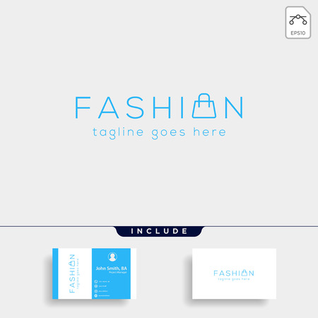 fashion bag shoping simple text logo type template vector illustration icon element - vector Vettoriali