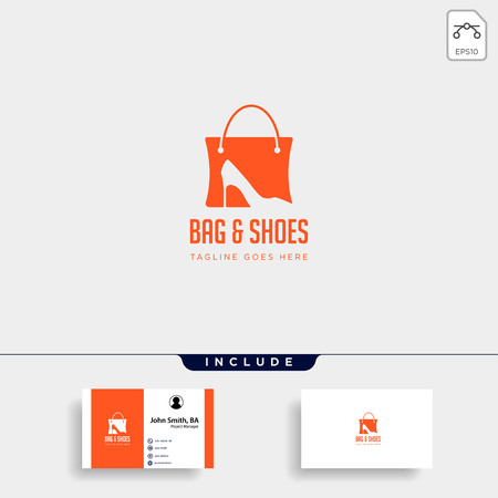 fashion bag shoping with high heel negative space simple logo template vector illustration icon element - vector  イラスト・ベクター素材