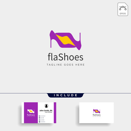 two heel fashion with flash, simple flat logo template vector illustration - vector