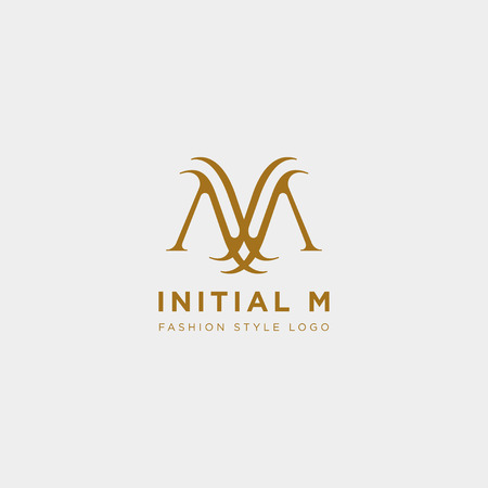 Premium Vector M Logo in gold color. Beautiful Logotype design for luxury company fashion branding - vector