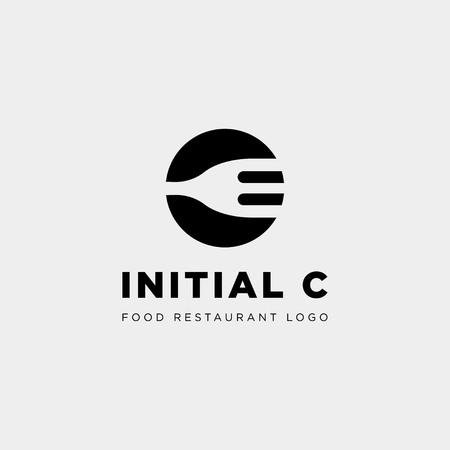 początkowy c sprzęt spożywczy proste logo szablon wektor ikona abstrakcyjna - wektor