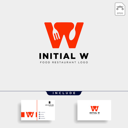 initial w food equipment simple logo template vector icon abstract - vector Çizim