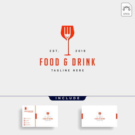 food and drink simple flat logo design vector illustration icon element, logo with business card download