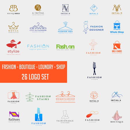 fashion shoping simple logo collection set template vector illustration icon element, fashion logo set mega download Ilustração