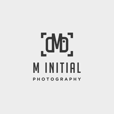 m initial photography logo template vector design icon element Vettoriali