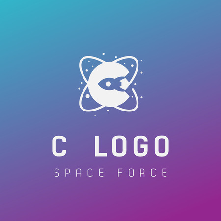 c initial space force logo design galaxy rocket vector in gradient background - vector Illusztráció