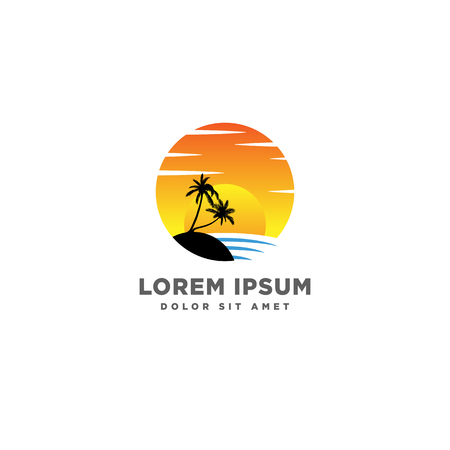 beach sunset logo design vector icon element, sunset logo concept - vector Banque d'images - 121724237