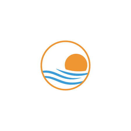 beach sunset logo design vector icon element, sunset logo concept - vector Banque d'images - 121724426