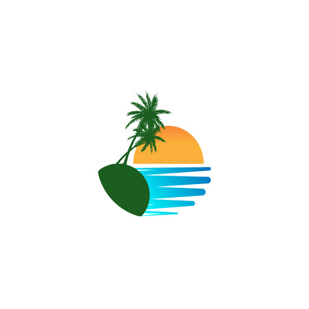 beach sunset logo design vector icon element, sunset logo concept - vector Banque d'images - 121724427
