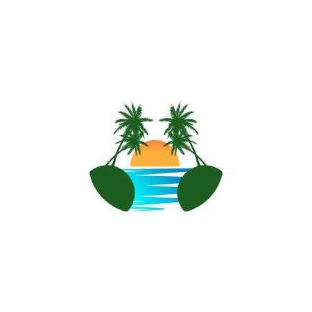 beach sunset logo design vector icon element, sunset logo concept - vector Banque d'images - 121724428