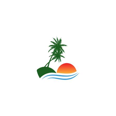 beach sunset logo design vector icon element, sunset logo concept - vector Banque d'images - 121724431