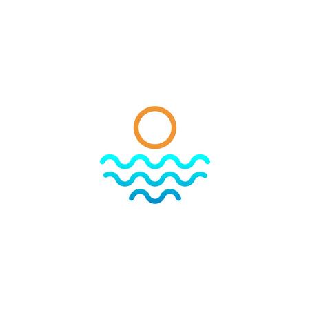 beach sunset logo design vector icon element, sunset logo concept - vector Banque d'images - 121724432