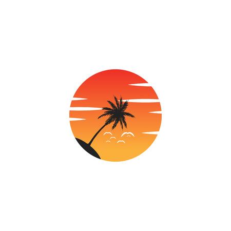 strand zonsondergang logo vector pictogram ontwerpelement, zonsondergang logo concept - vector