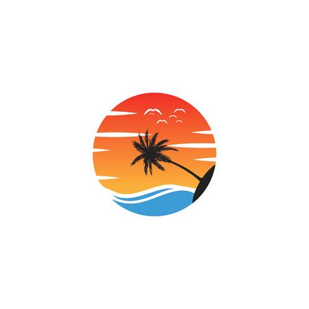 beach sunset logo design vector icon element, sunset logo concept - vector Banque d'images - 121724436