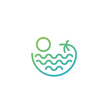 beach sunset logo design vector icon element, sunset logo concept - vector Banque d'images - 121724438