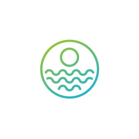 beach sunset logo design vector icon element, sunset logo concept - vector Banque d'images - 121724439