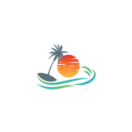 beach sunset logo design vector icon element, sunset logo concept - vector Illustration