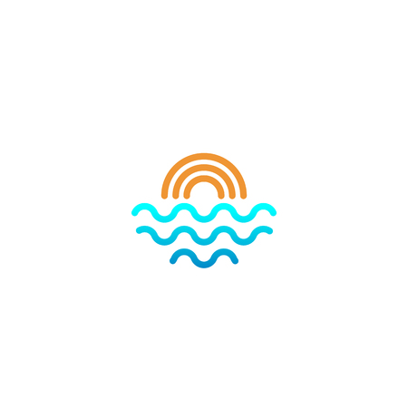 beach sunset logo design vector icon element, sunset logo concept - vector Banque d'images - 121724444