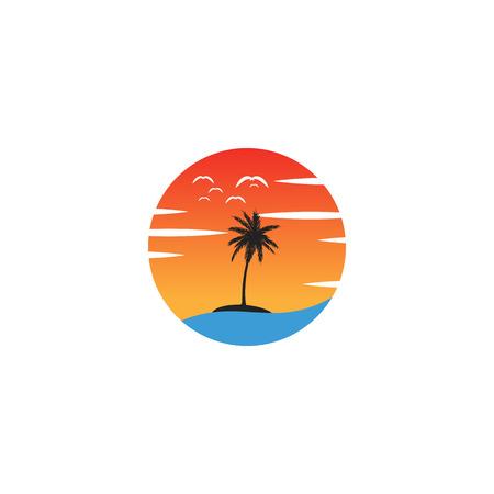 beach sunset logo design vector icon element, sunset logo concept - vector Logo