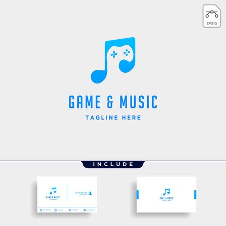 music game logo design template vector illustration - vector