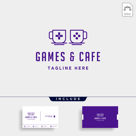 game cafe logo design concept vector illustration icon element - vector