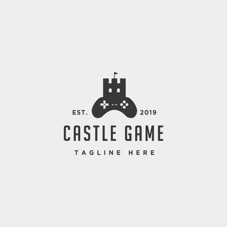 castle game logo design template concept controller - vector Stock fotó - 122086028