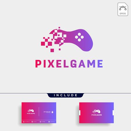 Diseño de logotipo de juego de píxeles con elemento de icono de ilustración de vector de tarjeta de visita aislado - vector