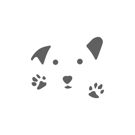 animal care logo design hug dog cat vector isolated icon element - vector