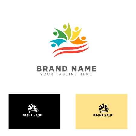 community group logo design template vector illustration icon element Logo