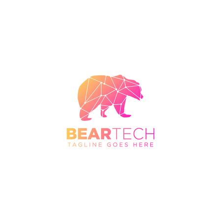 bear geometric logo design vector illustration icon element - vector