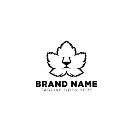 lion leaf face logo design vector icon illustration element isolated