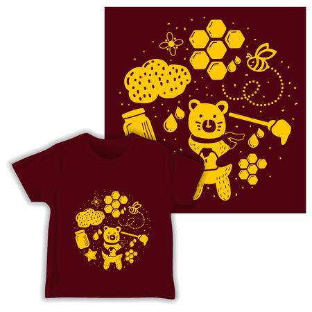 cute honey bear seamless pattern print shirt fabric vector illustration