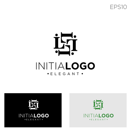 monogram initial l, ll, l logo template black color vector illustration - vector