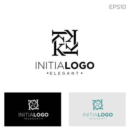 monogram initial k, kk, k logo template black color vector illustration - vector Logó