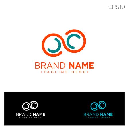 infinity monogram initial c, cc, c logo template black color vector illustration - vector Logo