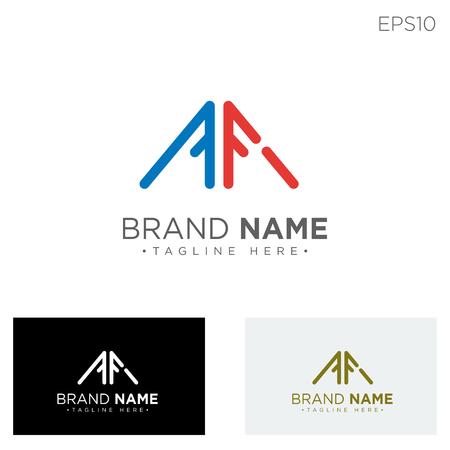 monogram initial af, af logo template black color vector illustration - vector