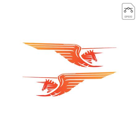 koń pegaz projekt logo inspiracja wektor ikona element izolowany
