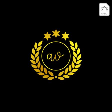 luxury AV initial logo or symbol business company vector icon isolated