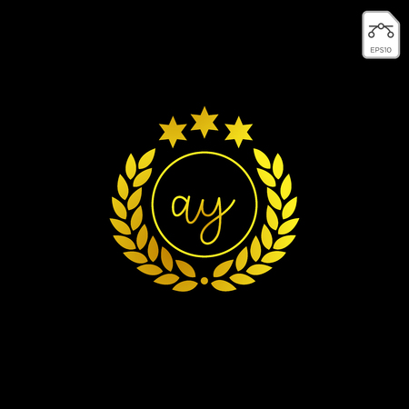 luxury AY initial logo or symbol business company vector icon isolated