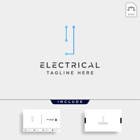 connect or electrical i logo design vector icon element isolated with business card include Çizim