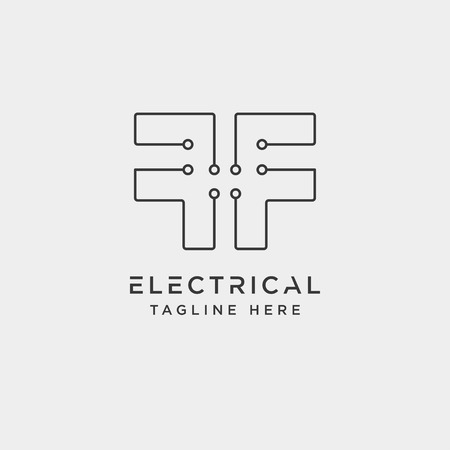connect or electrical f logo design vector icon element isolated - vector Ilustração