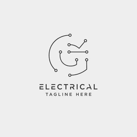 connect or electrical g logo design vector icon element isolated - vector Ilustração