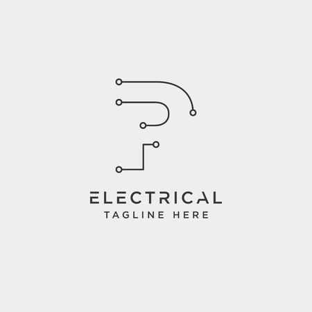 connect or electrical p logo design vector icon element isolated - vector